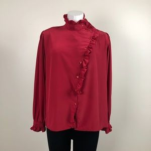 Vintage High Neck Ruffle Blouse